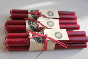 "St Eval Candle Co - Sandalwood Claret 1/2""x 6"" Candles Raffia Tied in Bundles of 4"