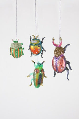 Cody Foster & Co - Glitter Insects Hanging Glass  Ornament - Assorted