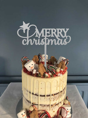 Lissie Lou - Cake Topper - Merry Christmas/Silver