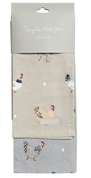 Sophie Allport - Lay A Little Egg Hen Tea Towel - Set of 2