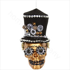 Gisela Graham - Black and Gold Skull with Top Hat Decoration