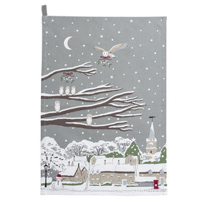 Sophie Allport - Night Owl Village Scene Tea Towel