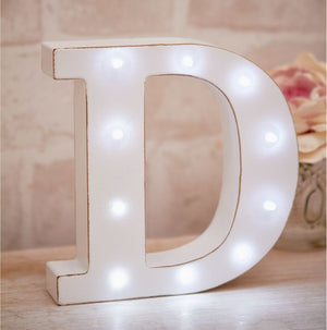 La De Da Living - Distressed LED Light Letter- D