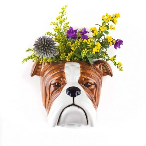 Quail - English Bulldog Wall Vase