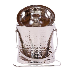 Epicurean Elegant Ice Bucket & Tongs Hammered Steel