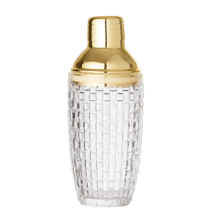 Bloomingville - Glass Pattered - Gold topped - Cocktail Shaker