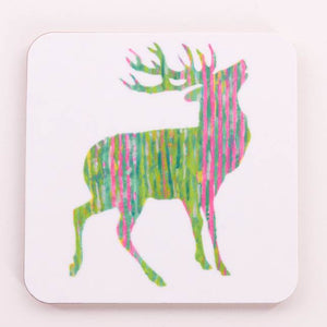Chloe Gardner - Green and Pink Stag Coaster