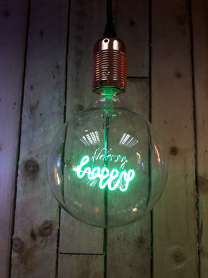 Amber Bright LED Message in a Bulb- Pendant - Happy