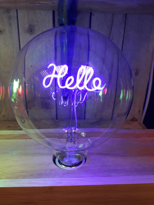 Amber Bright LED Message in a Bulb - Table Light - Hello Upright