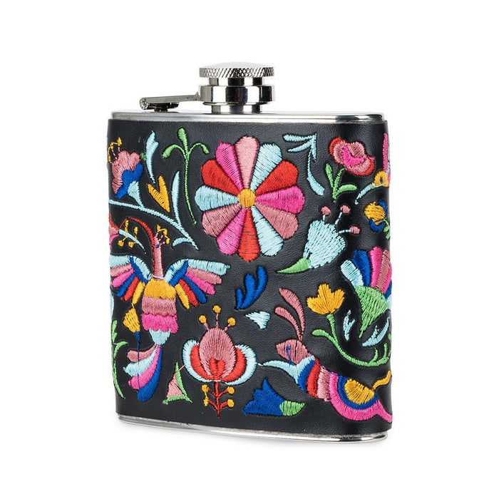Blush Embroidered Hip Flask