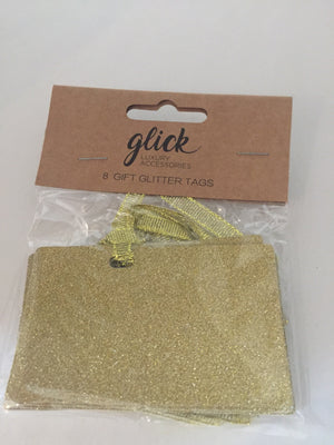 Gift Glitter Gold Tags x 8
