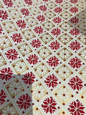 Red snowflake paper