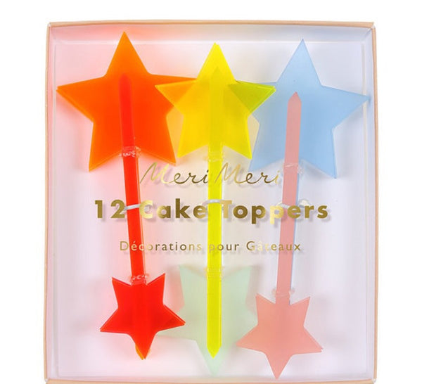 12 Neon Star Cake Toppers