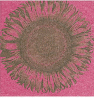 Caspari - Etched Sunflower Paper Linen Cocktail Napkins in Fuchsia