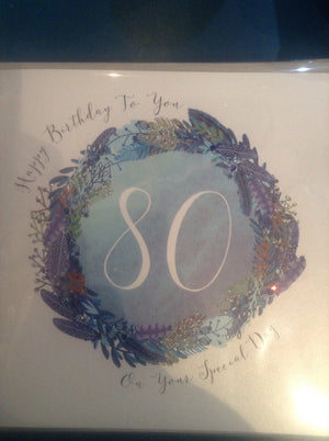 Paper diamond deluxe 80th birthday blue