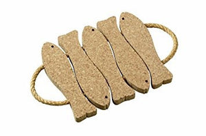 5 Fish Cork Trivet W/Rope