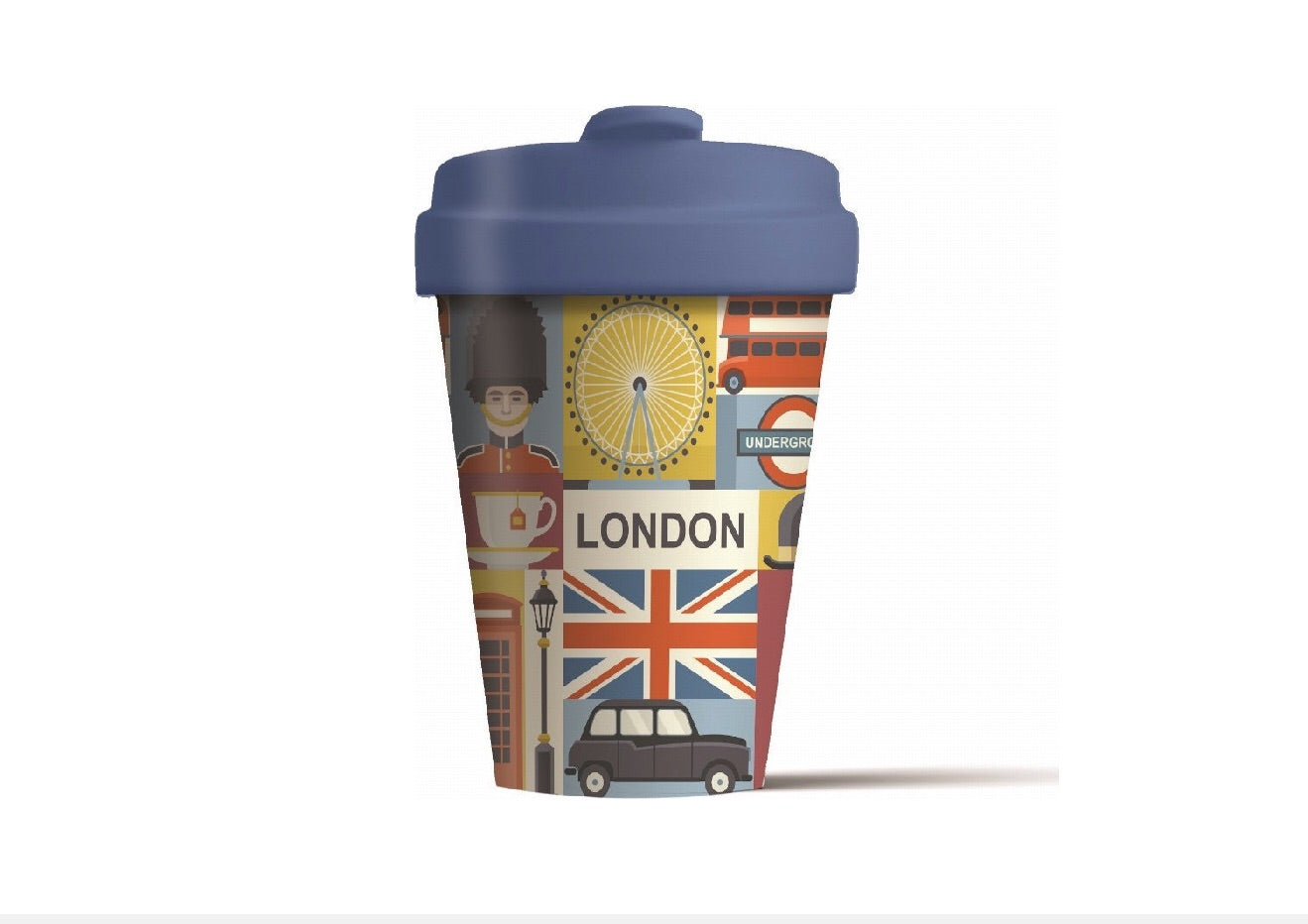 Thermal Travel Cup London Sights Reusable Eco-Friendly Bamboo  400ml by Chic Mic