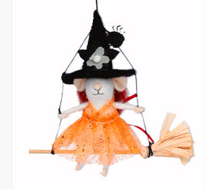 Gislea Graham - Halloween - Mixed Wool Mouse on Broom Decoration