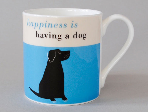 Happiness mug black lab turquoise