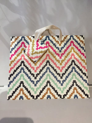 Gift Bag Multicolor Zig Zag Medium