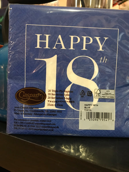 Caspari Happy 18th Napkins