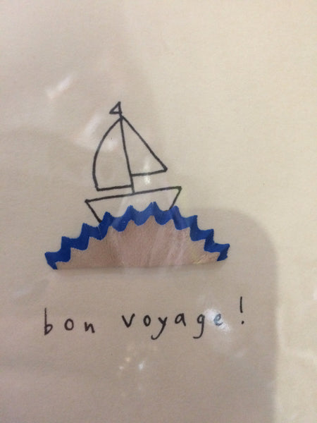 Card Bon voyage pencil shavings