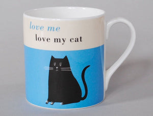 Happiness mug love me love my cat turquoise