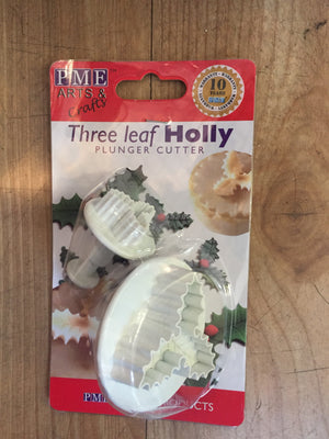 Plunger Cutter Three Leaf Holly Set of 2