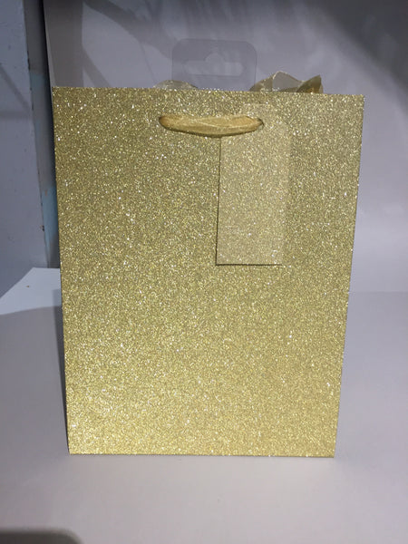 Gift Bag Glitter Gold Medium