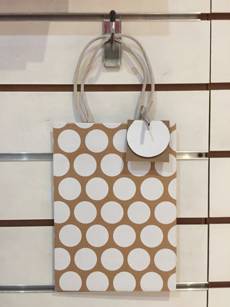 Gift Bag medium - White Dots
