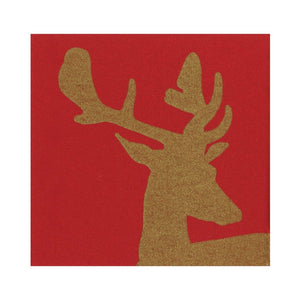 Alpine Stag Paper Linen Luncheon Napkins in Red - 15 Per Package