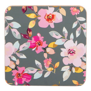 Navigate Gardenia Coasters Grey Floral Set of 4