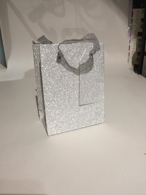 Gift Bag Glitter Silver Small