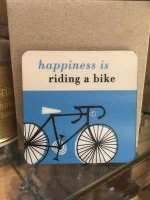 Happiness is riding a bike turquoise fridge magnet