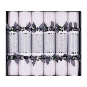 Celebration Crackers - Silver Sparkle Christmas Cracker - Pack of 6