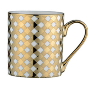 Straight Sided Mug with Plaid Design-Gold