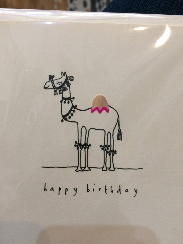 Card Happy Birthday camel pencil shavings