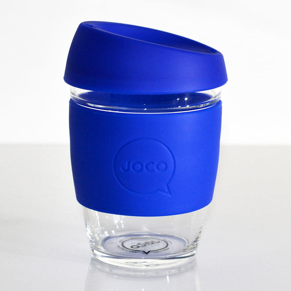 12oz Joco Glass Coffee Cup in Cobalt Blue