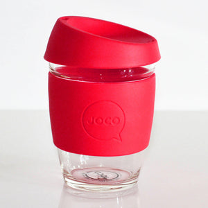 Joco - 12oz Glass Coffee Cup - Red