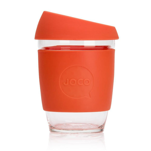 12oz Joco Glass Coffee Cup in Orange