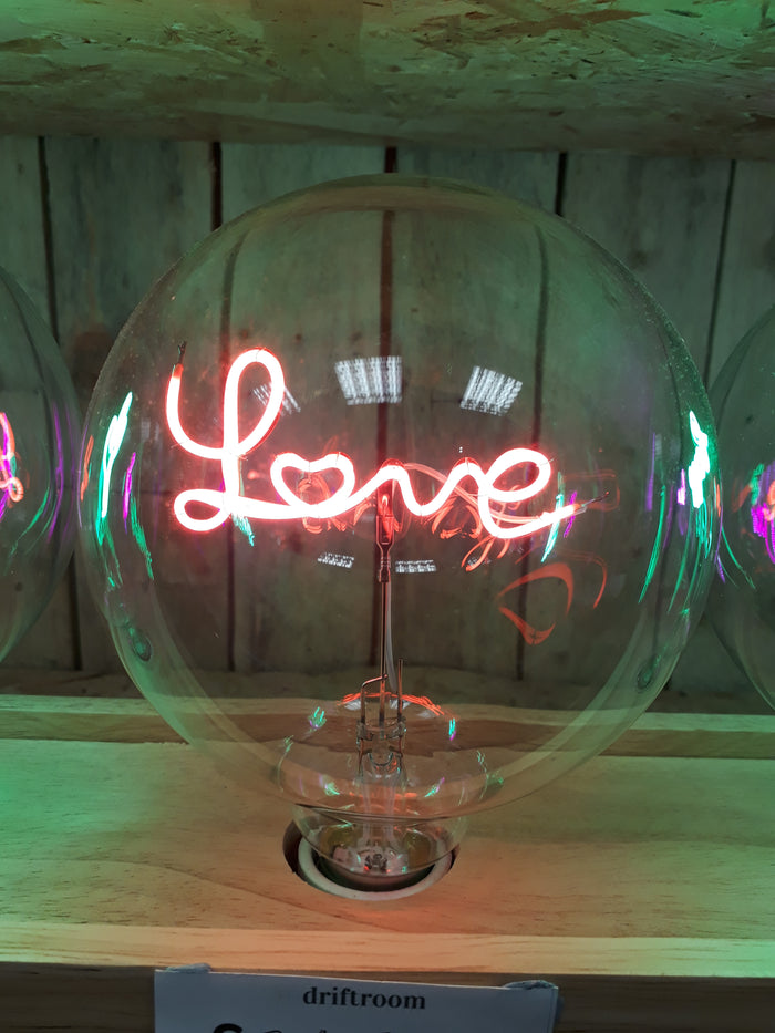 Amber Bright LED Message in a Bulb - Table Light - Love - Upright