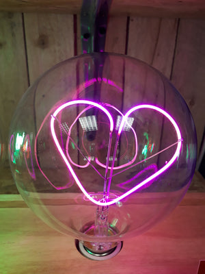 Amber Bright - Message in a Bulb - Table Light - Love Heart - Upright