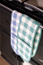Double Oven Gloves - Blue Check, Ajanta