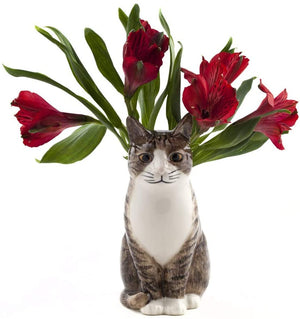 Quail Large Flower Vase - Millie the Cat