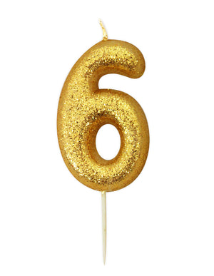 Anniversary House - Age 6 Glitter Numeral Pick Candle - Gold