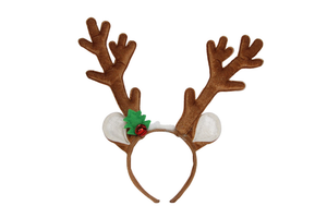 Gisela Graham - Fabric Glitter antlers with Holly Hat/Hairband