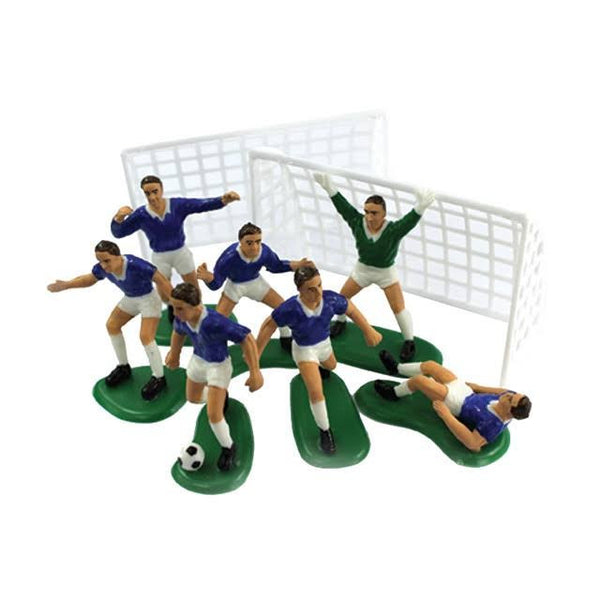 Cake decoration 6 blue footballers, 1 goalkeeper & 2 goalposts