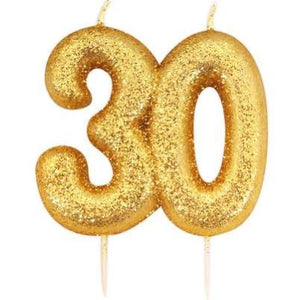 Anniversary House - Age 30 Glitter Numeral Pick Candle - Gold