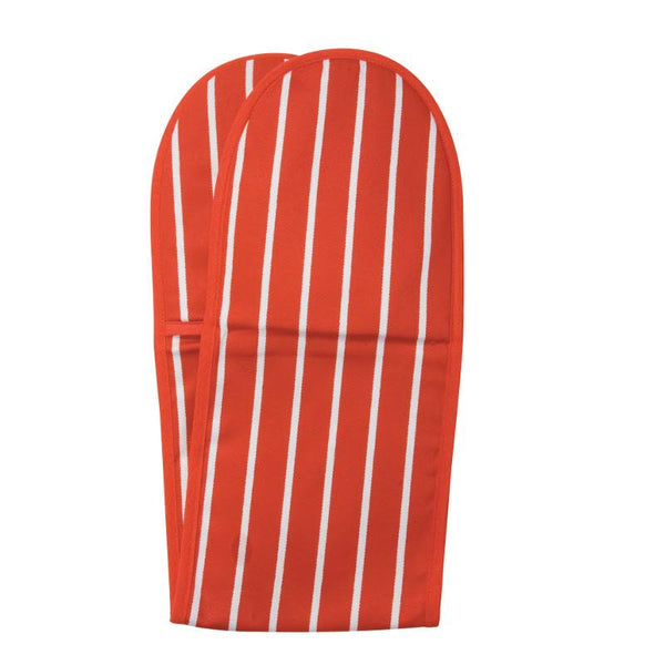 Double Oven Glove - Red Butchers Stripe