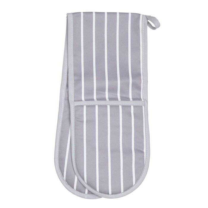 Double Oven Glove - Grey Butchers Stripe